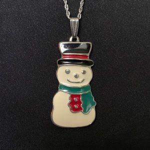Vintage Jewelry - Wallace Silversmiths Snowman Pendant Necklace